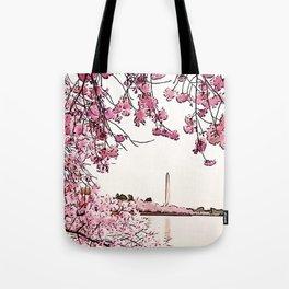 Washington Monument Amid Cherry Blossoms Tote Bag