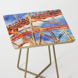 Fun on the roller coaster, close up Side Table