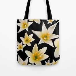 White flowers with pattern Tote Bag