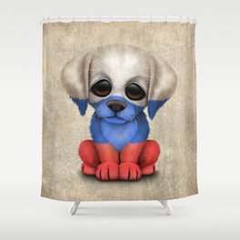 Cute Puppy Dog with flag of Russia Shower Curtain