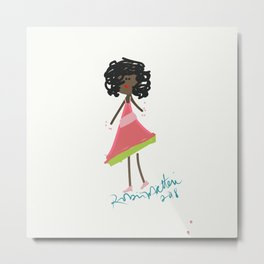 African American Pretty Pink Girl Metal Print