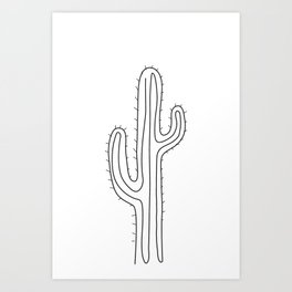 Abstract cactus one line drawing Art Print