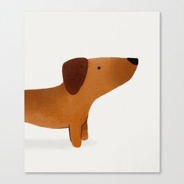 Watercolor Dachshund Weiner Dog Canvas Print