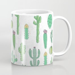 Cactus Pattern White Coffee Mug