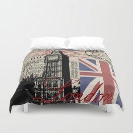 London Great Britain Big Ben Flag Collage Duvet Cover