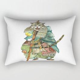 Samurai Cat with a Spear and 2 Swords Rectangular Pillow