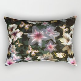Amaryllis and Butterflies Rectangular Pillow