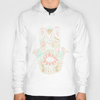 Hoodies featuring Modern girly pink mint gold Hamsa hand of fatima by Girly Trend