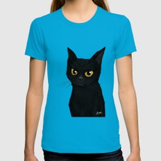 Cat in the blue Teal Womens Fitted Tee MEDIUM