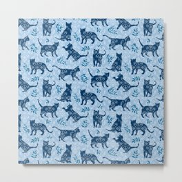 Cats, Damask Blue Metal Print
