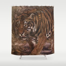 Vintage Tiger Painting (1909) Shower Curtain