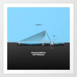 Erasmus bridge Rotterdam Art Print