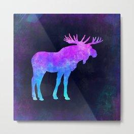 MOOSE IN SPACE // Animal Graphic Art // Watercolor Canvas Painting // Modern Minimal Cute Metal Print