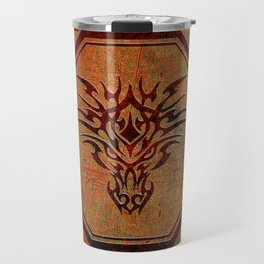 Tribal Dragon Head In Octagon With Dragon Chinese Characters Travel Mug