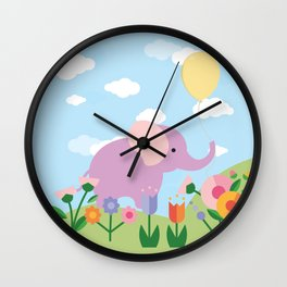 Purple Elephant and Balloons, nursery decor , Wall Clock