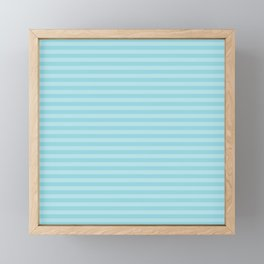 Pale Sky Blue Horizontal Stripe Framed Mini Art Print
