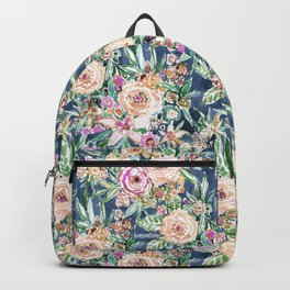 Navy MAUI MINDSET Colorful Tropical Floral Backpack
