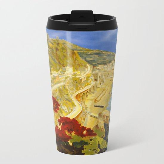 Vintage Amalfi Italy Travel Metal Travel Mug