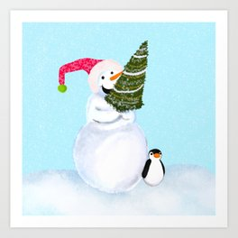 Smiling Snowman With Christmas Tree And Penguin Art Print