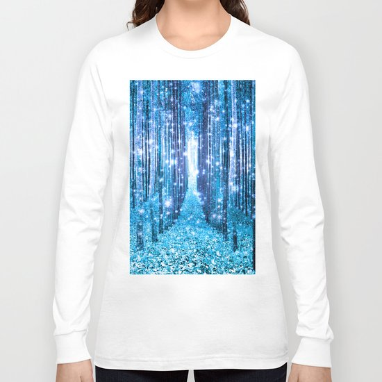 Magical Forest  Light Blue Turquoise Long Sleeve T-shirt