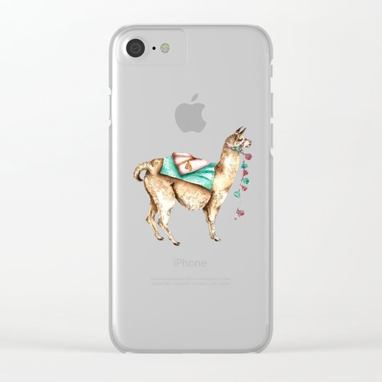 Watercolor Llama Clear iPhone Case