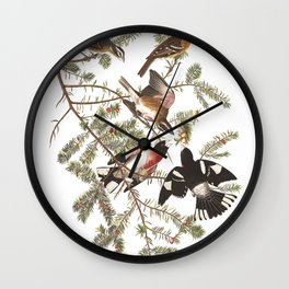 Rose breasted grosbeak, Birds of America, Audubon Plate 127 Wall Clock