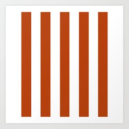 Rust brown - solid color - white vertical lines pattern Art Print
