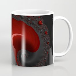 Black Red Goth Gothic Elegant Spiral Decorative Ornate Abstract Fractal Digital Graphic Art Design Coffee Mug