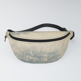 YESTERYEAR textured vintage ivory background with pale blue grey floral pattern Fanny Pack