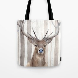 """Watercolor Painting of Picture """"Deer in Winter Forest"""" Tote Bag"""