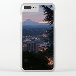 Mount Hood over Portland Clear iPhone Case
