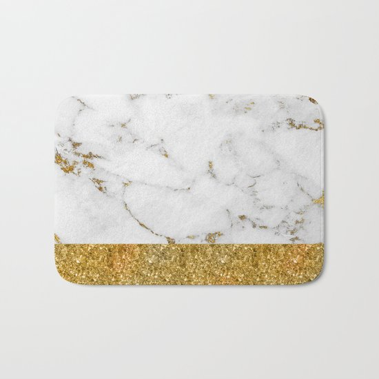 Luxury and glamorous gold glitter and white and gold marble Bath Mat