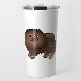 Brown Pomeranian Dog Cute Cartoon Illustration Travel Mug