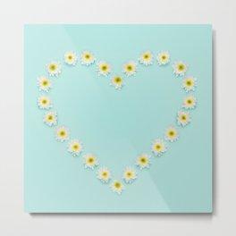 Green Flower heart Metal Print