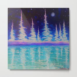 Vibrant trees in Alcohol ink Metal Print