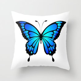 Vivid and colorful blue butterfly Throw Pillow