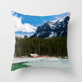 Canoeing in the Mountains Throw Pillow