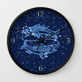 Pisces Constellation and Zodiac Sign with Stars Wall Clock