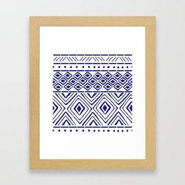 African Mud Cloth // Blue Framed Art Print