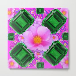 May Green Emerald Gems & Pink Roses Fuchsia Art Metal Print