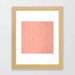 Simply Mid-Century in White Gold Sands on Salmon Pink Framed Art Print