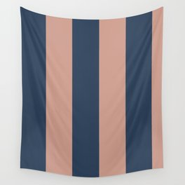 5th Avenue Stripe No. 1 in Smoked Salmon and Midnight Blue Wall Tapestry