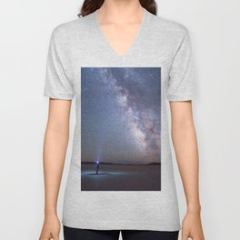 Camping under the Milky Way and stars. Unisex V-Neck