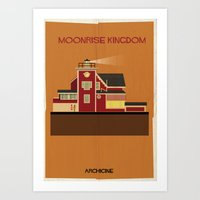 wes anderson Art Prints featuring Moonrise Kingdom Directed by Wes Anderson by federico babina