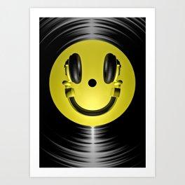 Vinyl headphone smiley Kunstdrucke