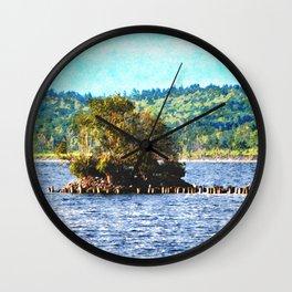 Tiny Island of The Big Lake Wall Clock