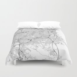 San Francisco White Map Duvet Cover