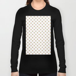 Small Polka Dots - Tan Brown on White Long Sleeve T-shirt