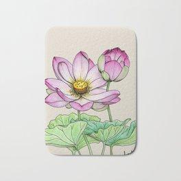 Botanical illustration lotus Bath Mat