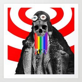 Rainbow Skull Pilot Art Print
